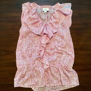Sleeveless blouse with ruffle detail